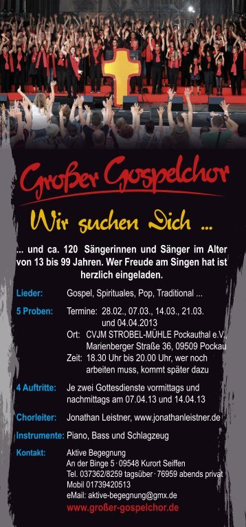 Gospelchor-Projekt - Strobel-Mühle Pockautal