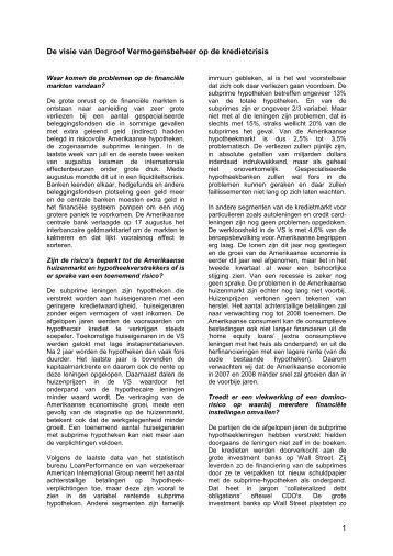 Crisis in de subprime leningen vragen en antwoorden en het beleid ...