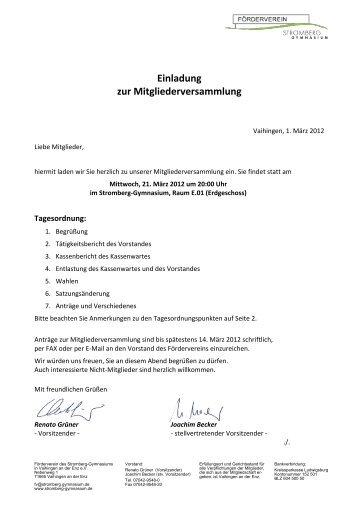 Einladung zur Mitgliederversammlung - Stromberg-Gymnasium