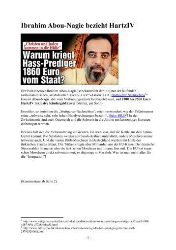Ibrahim Abou-Nagie bezieht HartzIV - auf den Seiten von Strubb