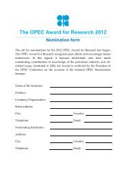 The OPEC Award for Research 2012