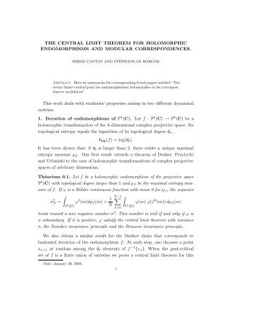 THE CENTRAL LIMIT THEOREM FOR HOLOMORPHIC ...