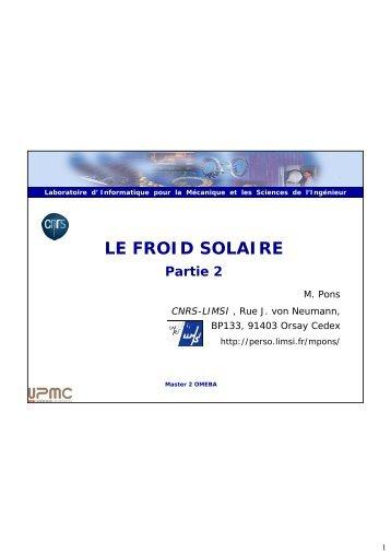 le froid solaire - Master 2 en Mécanique des fluides et Energétique