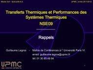 Transferts Thermiques et Performances des Systèmes Thermiques ...