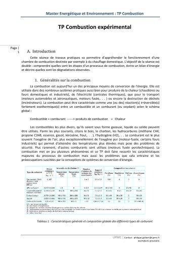 Master Energétique et Environnement : TP Combustion