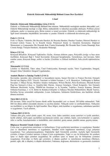 Ders İçerikleri - Elektrik Elektronik Mühendisliği