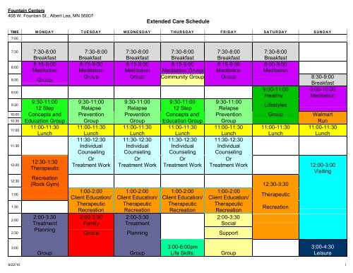 Extended Care Sample Daily Schedule - Mayo Clinic Health System