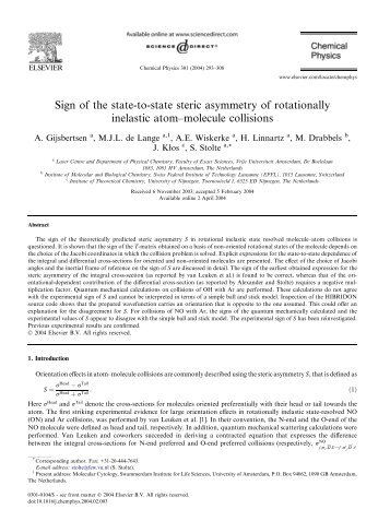 Sign of the state-to-state steric asymmetry of rotationally inelastic ...
