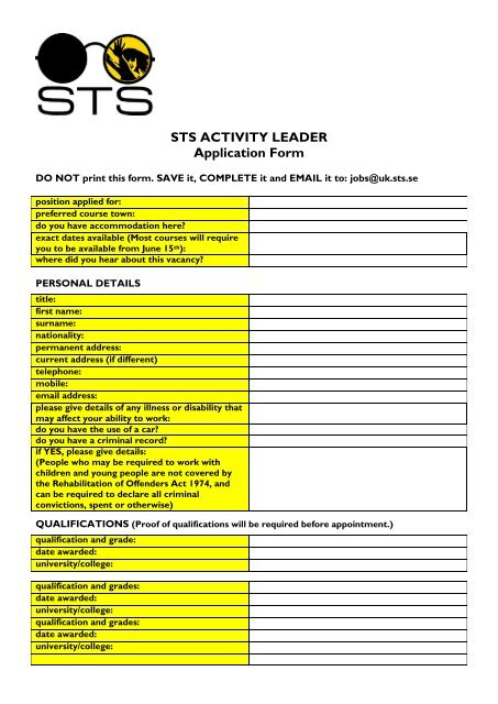STS Activity Leader Application Form 2013