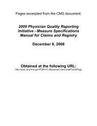 2009 Physician Quality Reporting Initiative - Measure Specifications ...