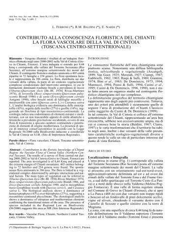 Contributo alla conoscenza floristica del Chianti - Società Toscana ...