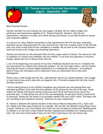 St. Thomas Aquinas Preschool Newsletter August - September 2007
