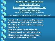 Introduction to Transpersonal Theory in Social Work - St. Thomas ...