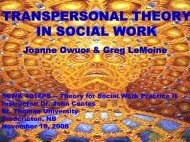 transpersonal theory in social work - St. Thomas University