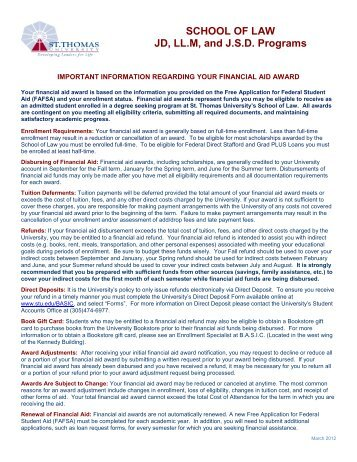 Information About Your Award - St. Thomas University