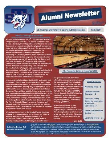 St. Thomas University | Sports Administration Fall 2009 Jan Bell