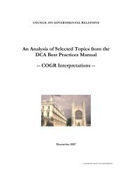 An Analysis of Selected Topics from the DCA Best Practices Manual ...