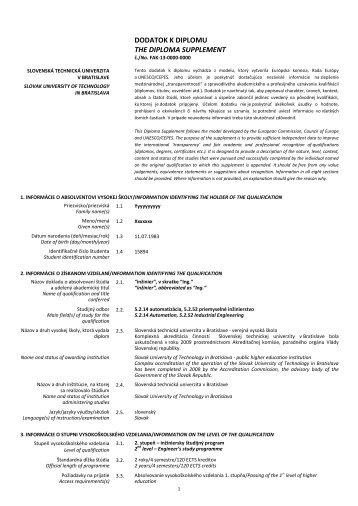 Vzor vyplneného dodatku k diplomu - Slovenská technická ...