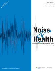 July-August 2013 | Volume 15 | Issue 65 www.noiseandhealth.org