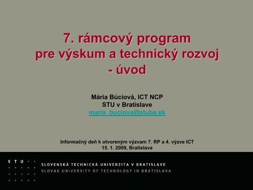 7. rámcový program pre výskum a technický rozvoj - úvod