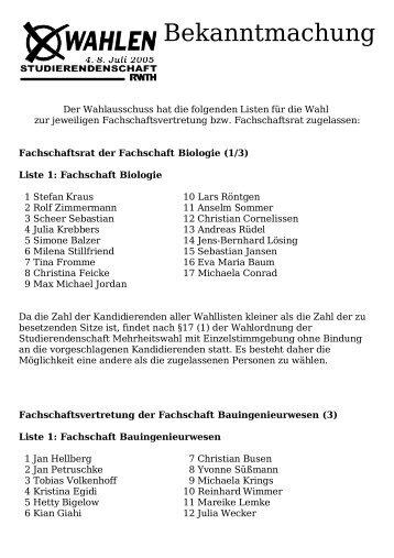 Zugelassene Listen für die Wahl zum 56.Studierendenparlament