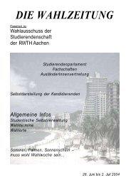 DIE WAHLZEITUNG - Studierendenschaft der RWTH Aachen
