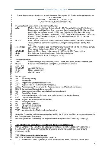 Protokoll vom 23.10.2013 - Studierendenschaft der RWTH Aachen