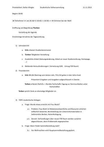 Protokoll vom 11.11.2013 (Vollversammlung)