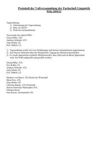 Protokoll der Vollversammlung der Fachschaft Linguistik
