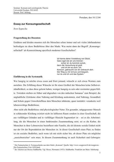 Essay zur Konsumgesellschaft - Universität Potsdam