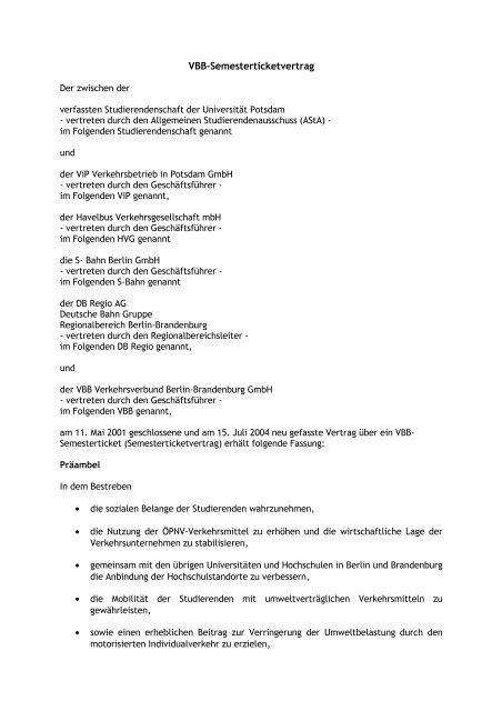 VBB-Semesterticketvertrag - Universität Potsdam