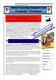Noord-Gauteng Saalperd Unie Nuusbrief / Newsletter