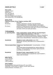 ansioluettelo koulutus työkokemus kielitaito atk-taidot - Student Oulu