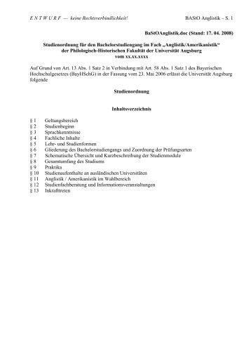 BA-Studienordnung für Anglistik/Amerikanistik - Universität Augsburg