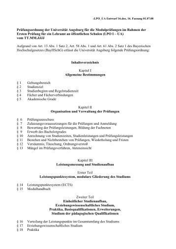 LPO_UA Entwurf 16 - Universität Augsburg