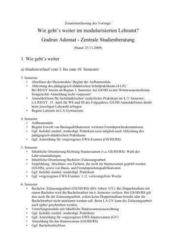 Wie geht es weiter im modularisierten Lehramt? - Universität Augsburg