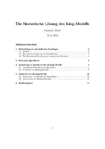 Die Numerische Lösung des Ising-Modells