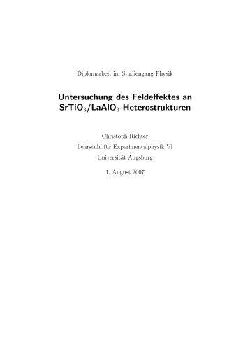 Untersuchung des Feldeffektes an SrTiO3/LaAlO3-Heterostrukturen