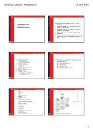 Inleiding Logistiek: Hoofdstuk 8 13 april 2007 1 - Student Content
