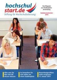 Magazin hochschulstart Sommersemester 2013 ... - Studentenpilot.de
