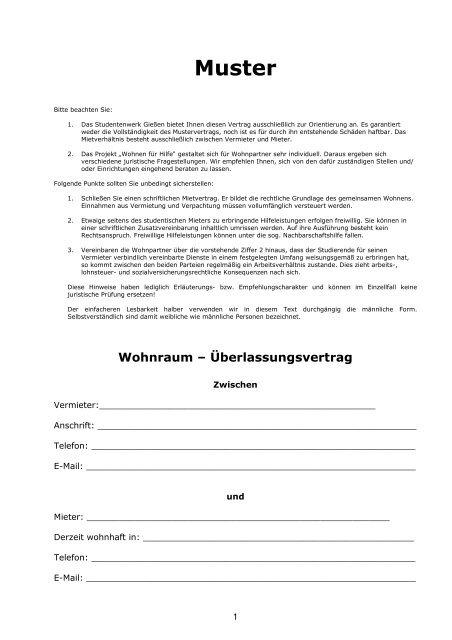 Mustervertrag Wohnen Für Mithilfe Studentenwerk Gießen