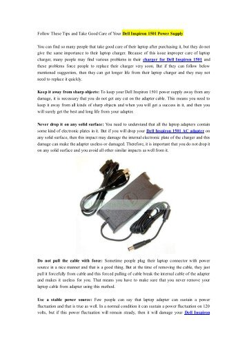 Follow These Tips and Take Good Care of Your Dell Inspiron 1501 Power Supply.pdf