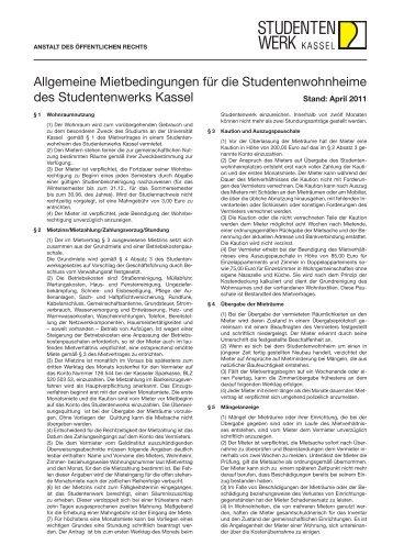 Allgemeine Mietbedingungen für die Studentenwohnheime des ...