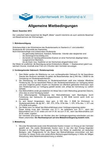 Allgemeine Mietbedingungen - Studentenwerk im Saarland