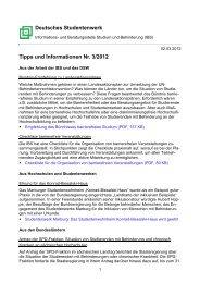 Tipps und Informationen Nr. 3/2012 - Deutsches Studentenwerk