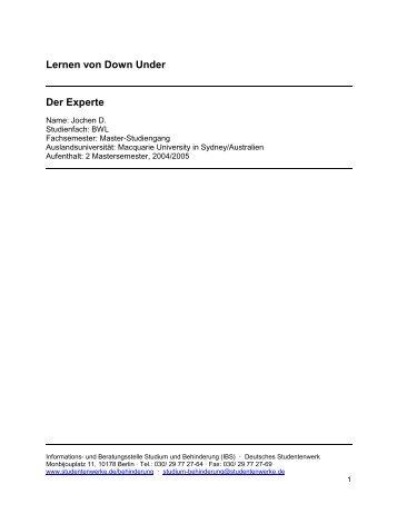 Lernen von Down Under - Deutsches Studentenwerk