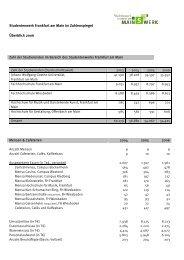 Datenblatt Leistungsbilanz 2007 - Studentenwerk Frankfurt am Main