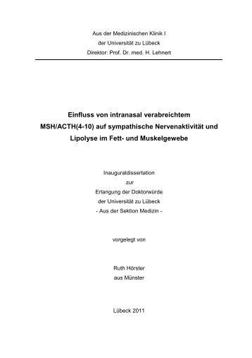 Einfluss von intranasal verabreichtem MSH/ACTH(4-10) auf ...