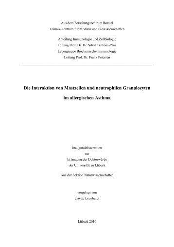 Die Interaktion von Mastzellen und neutrophilen Granulozyten im ...