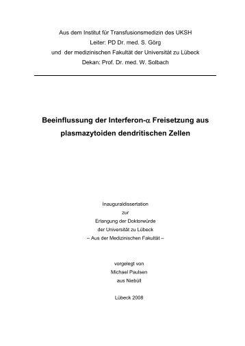 Beeinflussung der Interferon-α-Freisetzung [Interferon-alpha ...